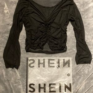 Shein Sheer Long-sleeve Drawstring Blouse